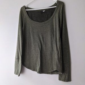 Urban Outfitters BDG Scoop Neck Long Sleeve Top Olive Green Size Medium